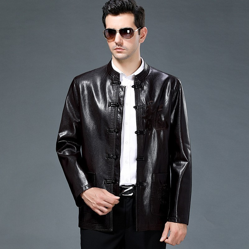 New Sheepskin Leather Jacket Men Autumn And Winter Business And  Leisure Tang Suit Leather Jacket Windbreaker Coats Jackets