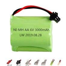 Bateria nimh para carros de brinquedo rc, 6v 3000mah, tanques de arma, rc, robôs, bateria aa recarregável pacote para barcos rc 1 peça
