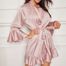 Women Healthy Women Clothes Sexy Badjas Silk Satin Lingerie Lady Nightwear Bathrobe Sleepwear Belt