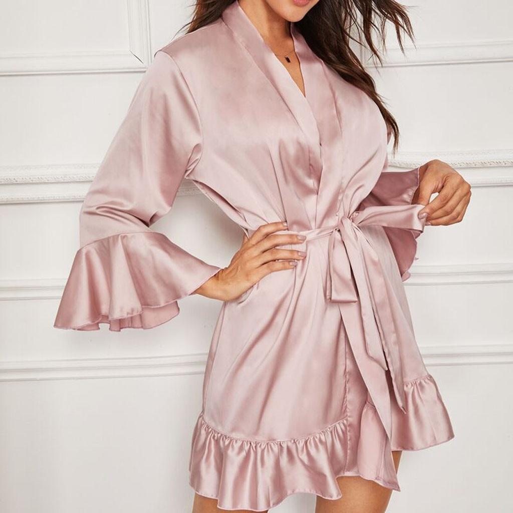 Women Healthy Women Clothes Sexy Badjas Silk Satin Lingerie Lady Nightwear Bathrobe Sleepwear Belt Robe Ruffled Nightgown 2019