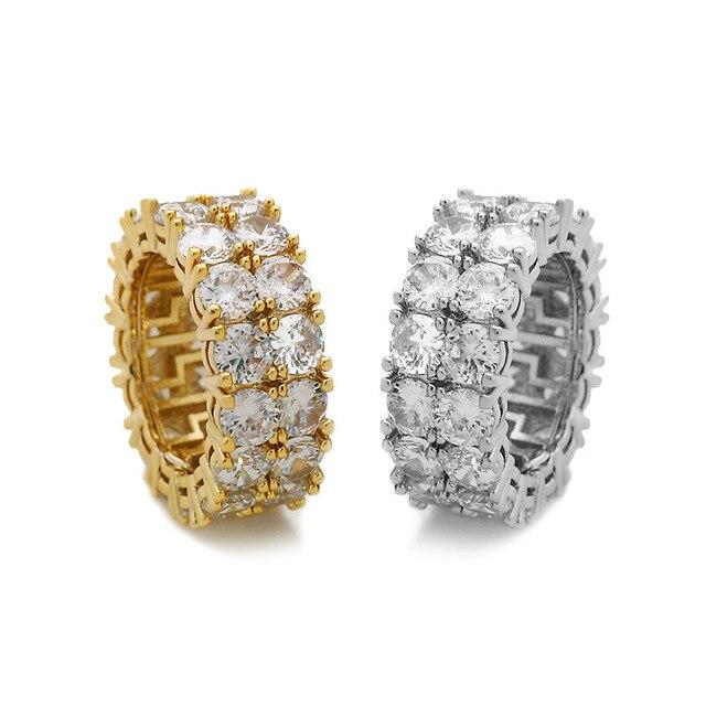 Купить кольца женские и мужские с большим цирконом золотистые/серебристые картинки