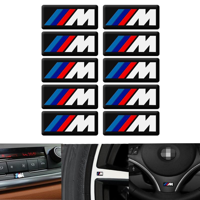 10 PC Interior Mobil Stiker Mobil Roda Kemudi Stiker untuk BMW M Stiker X1 X3 X4 X5 X6 X7 E46 e90 F20 E60 E39 F10 Aksesoris Mobil