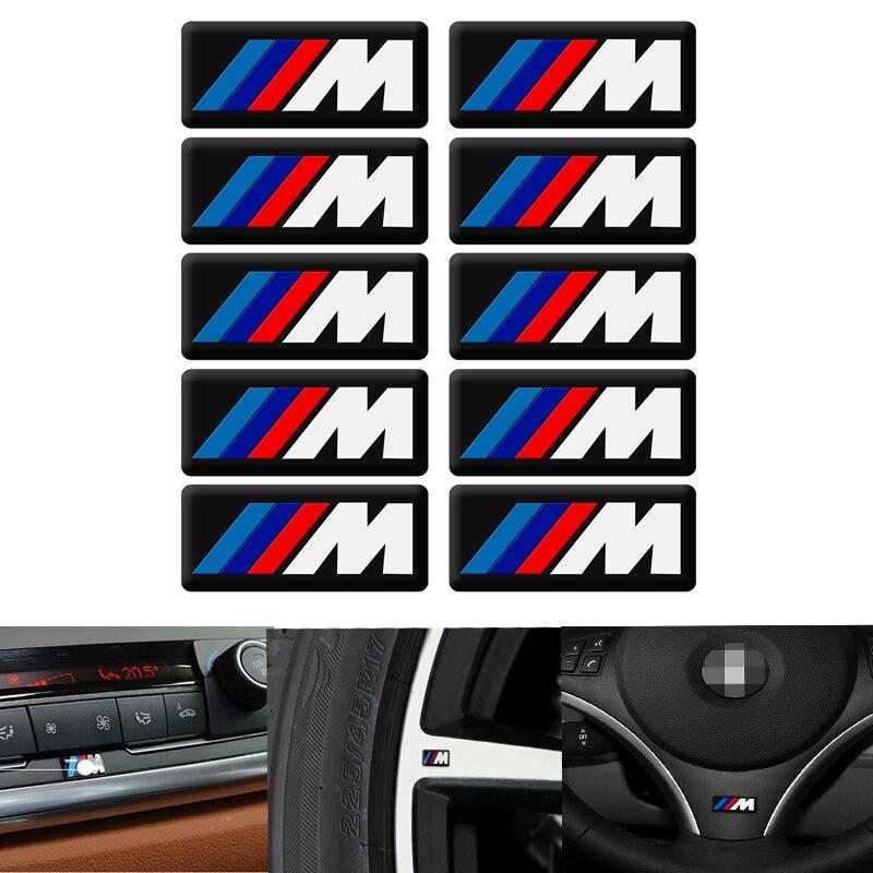 10pc 자동차 인테리어 스티커 자동차 스티어링 휠 스티커 bmw M 스티커 X1 X3 X4 X5 X6 X7 e46 e90 f20 e60 e39 f10 자동차 액세서리