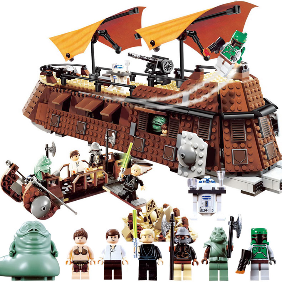 821pcs Star Set Wars Bricks Comptiable With Lepining 9515 Jabba's Sail Barge Model Building Blocks Boy Gifts Starwars Toys