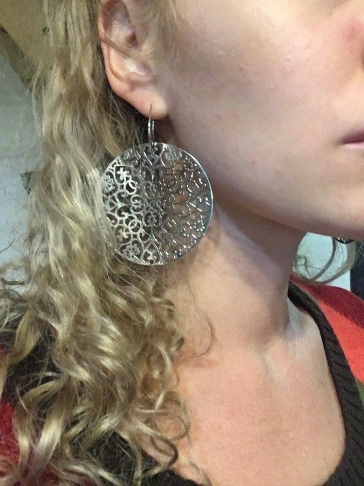 Big Bohemian Earrings for Women Silvery Rose Gold Hollow Flower Drop Earrings Jewelry Statement Earrings European Style 2020 New