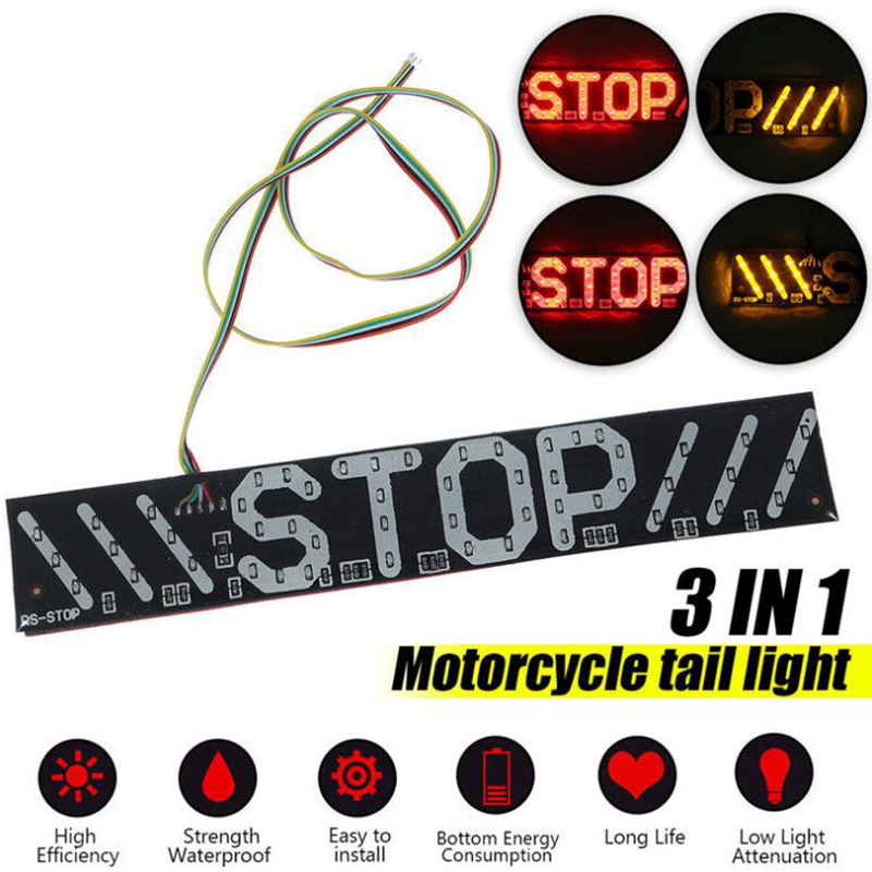 1pcs Motorcycle Tail Light LED Brake Light Turn Signal Anti-Follower Warning Light STOP Light Board Modified Tail Light