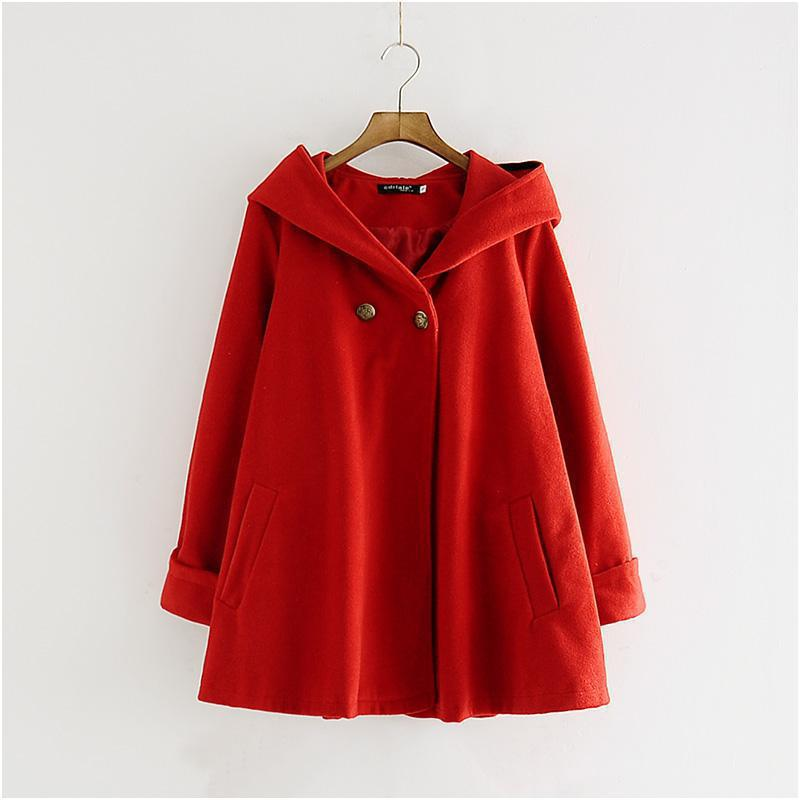 Женский винтажный плащ шерстяное пальто модное осеннее свободное повседневное ТРАПЕЦИЕВИДНОЕ с капюшоном средняя Длинная Верхняя одежда Женские куртки в стиле Харадзюку