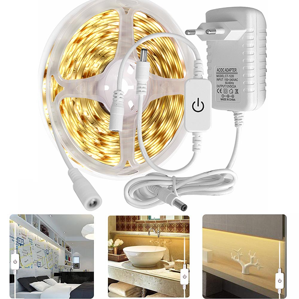 Kitchen Led Light 12V LED Under Cabinet Light 2835 LED Strip Touch Switch Night Lamp For Stair Wardrobe Home Lighting Waterproof