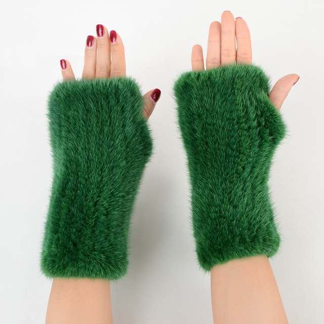 Fingerless Gloves Knitted Women Real Fur Mink Fur Winter Mink Fur Mittens For 2020 New Fashion Knitted Mink Fur Women Gloves 2
