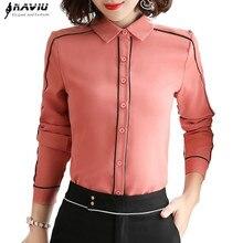 Zarif şifon gömlek kadın uzun kollu sonbahar yeni Yemperament papyon ince bluzlar ofis bayanlar profesyonel iş başında
