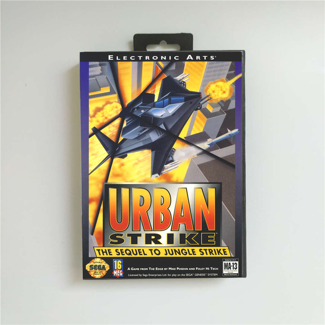 Urban Strike   USA Cover With Retail Box 16 Bit MD Game Card for Sega Megadrive Genesis Video Game Console