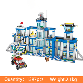 цена на 1397pcs Assemble City Police Station City Building Blocks Bricks Educational Toys Gifts For Children