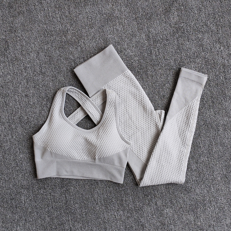 BraPantsWhite - Women Seamless Fitness Yoga Suit Color-blocked Sportwear