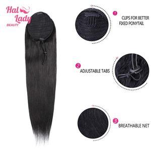 Image 4 - ハロー女性美容ストレート巾着ポニーテール人毛インドクリップで毛延長非レミー女性のためのポニーテール