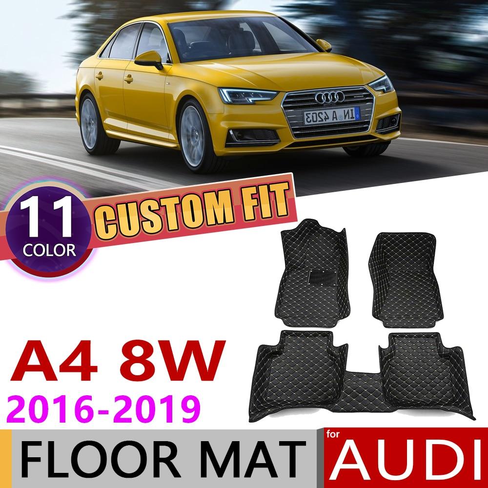Custom Car Leather Floor Mats For Audi A4 Sedan Saloon 8W B9 2016~2019 5 Seats Auto Foot Pad Carpet Cover Accessories 2017 2018