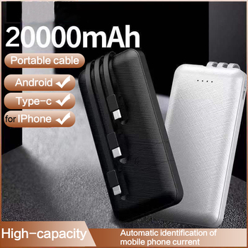 Power Bank 20000 mAh Fast Charging Powerbank Built in 3 Cable Pover Bank External Battery Pack For iPhone 11 Xiaomi Mi Poverbank image