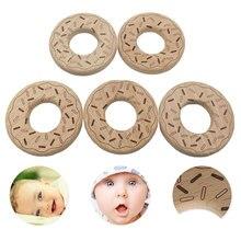 Beech Wood Teether Cartoon Wooden Animal Baby Teether Toy Safe Newborn Kids Teet