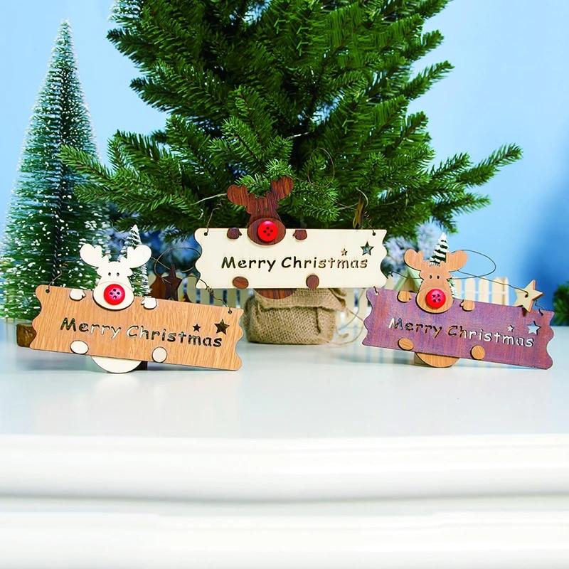 Xmas Tree Hanging Decor Christmas Wooden Openwork Letter Pendant Elk U1A4