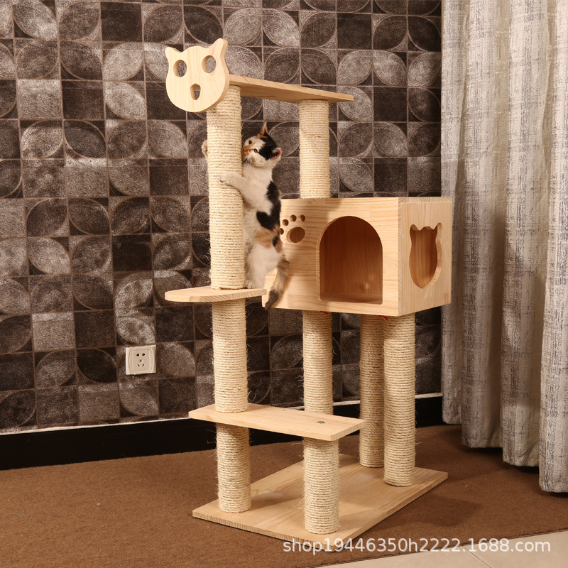 Solid <font><b>Large</b></font> size sisal <font><b>cat</b></font> scratching post scratching Wood <font><b>cat</b></font> <font><b>tree</b></font> house pet furniture play house pet supplies dropshipping image
