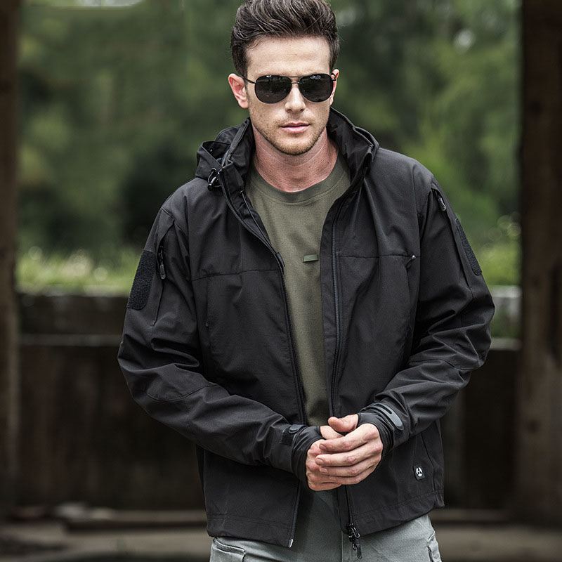 Military Tactical Outdoor Soft Shell Hiking Sport Jackets Man Spring Autumn Waterproof Hoodie Coat Casual Clothing 2021 New