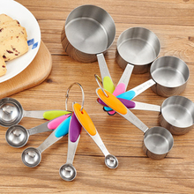 10 Piece Measuring Cups Measuring Spoons Set Stainless Steel Measuring Cup Spoon for Baking Tea Coffee Kitchen Measuring Tools multifunction coffee spoon silver stainless steel with bag clip 1 cup puer tea cezve for coffee measuring spoon