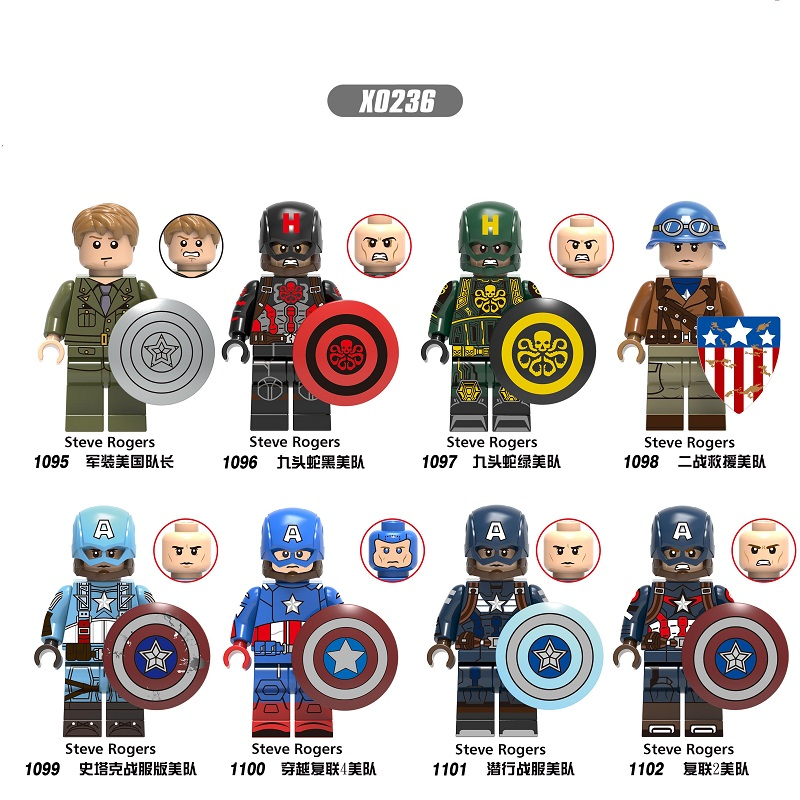 Single Sale Building Blocks Captain America Steve Rogers Shield Super Heroes Collection Figures Bricks Toy For Children X0236