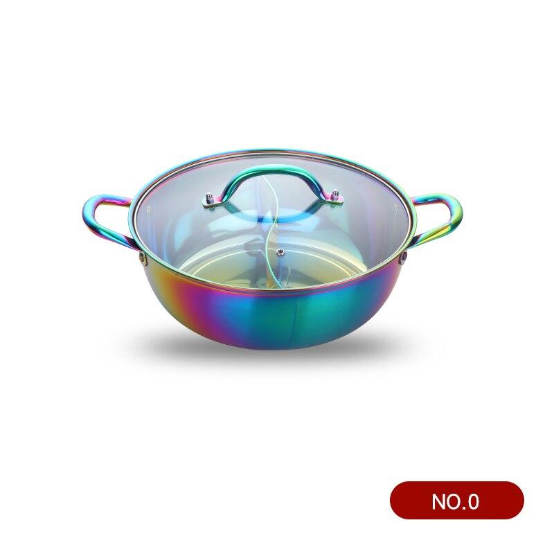 Горячий горшок из нержавеющей стали с двумя отделениями, кухонный горшок, кухонная утварь, однослойная совместимая суповая кастрюля, горшки для домашнего ресторана, инструменты - Цвет: Rainbow no.0