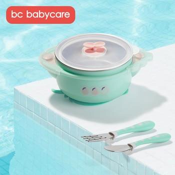 BC Babycare Baby ze stali nierdzewnej miska izolacyjna do wtrysku wody dla dzieci naczynia stołowe żywienie uzupełniające zestaw misek z widelcem do łyżki