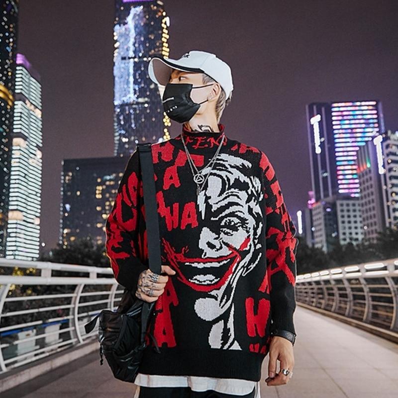 Image 3 - 2019 Mens Skull Sweater Streetwear Pullover Clown O neck Long  Sleeve Fashion Hip Hop Men Autumn Sweaters LoosePullovers   -