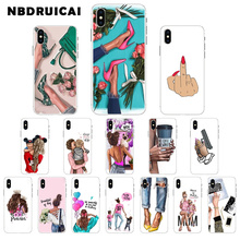 NBDRUICAI High-heeled Black girl High Quality Silicone Phone Case for iPhone 11 pro XS MAX 8 7 6 6S Plus X 5 5S SE XR cover nbdruicai black women art and little girl fashion phone case cover for iphone 11 pro xs max 8 7 6 6s plus x 5 5s se xr case