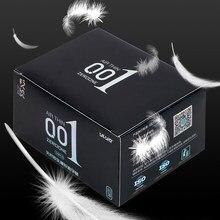 Vatine 10 pçs 0.01 ultra fino ácido hialurônico preservativos caixa de látex natural gelo calor toque brinquedos sexuais para produtos do sexo masculino