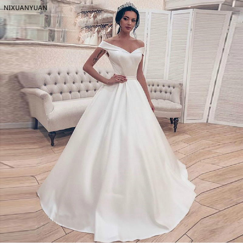 Simple Elegant White Ivory Satin Wedding Dress Princess Ball Gown Corset Off Shoulder Bridal Gown Long vestidos de novia 2020
