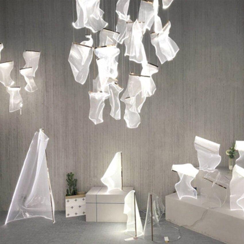 Postmodern Luxury LED Acrylic Chandelier Nordic LOFT Living Room Art Thousand Paper Pendant Lamp Hotel Lobby Lighting Luminarie