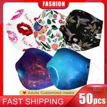 Mouth-Masks Printed Disposable Breathable Fashion 50pcs Non-Woven with Earloop Personalized