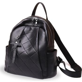 Fashion women solid color zipper backpack large capacity shoulder bag travel bag head layer cowhide female backpack