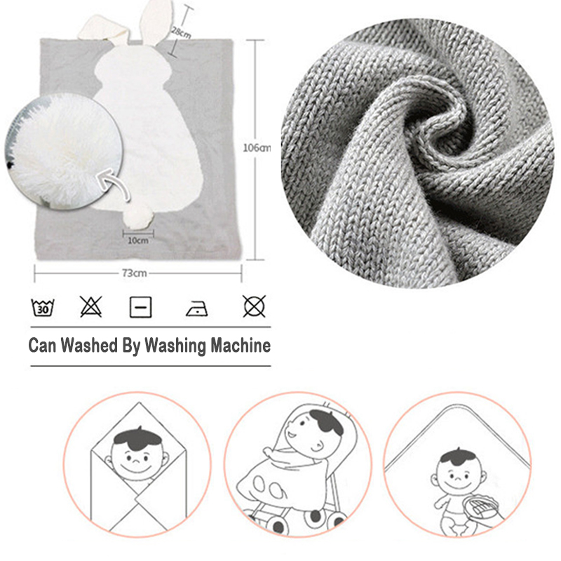 Top SaleBaby Blankets Swaddle Bedding Knitted Plaid Infant 1pc Cartoon for Kid Rabbit Let's-Make
