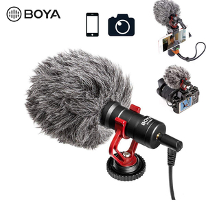 "Image 5 - BOYA BY M1DM 4m Dual Head Lavalier Lapel Clip on Microphone with 1/8"" Stereo Connector for DSLR Camera IOS Device live Interview"