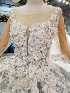 Image 5 - BGW 31121ht Королевское бальное платье, вечернее платье с 3d лепестками цветов, Тюлевое платье с длинными рукавами, круглым вырезом, бисером, Дубай, женское платье для особых случаев 2020