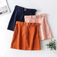Ltph модная Корейская юбка с высокой талией Вельветовая поясом