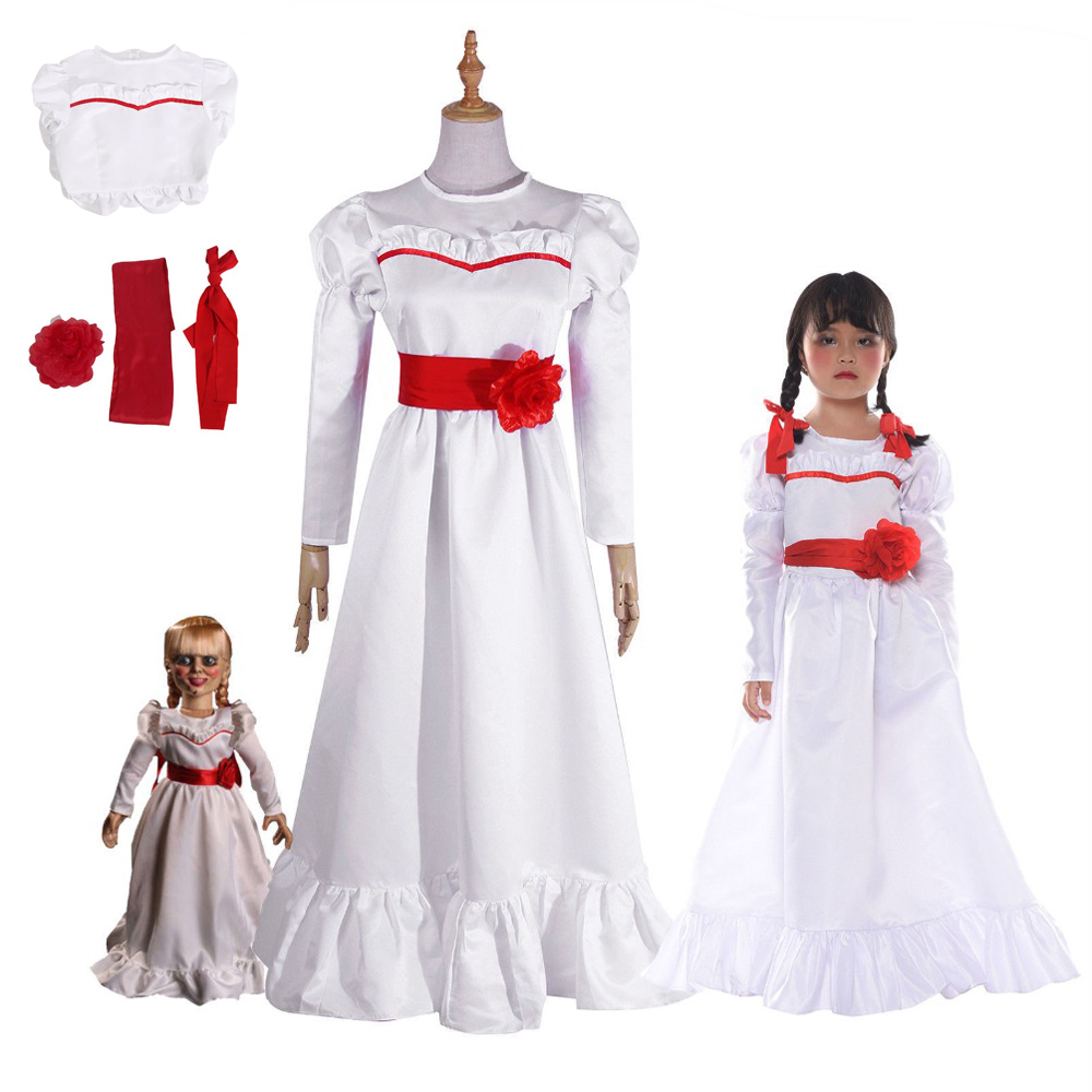 Halloween Girl Halloween Dress Doll Annabelle Cosplay Costume For Women Kids Adult Halloween Horror Movie Costume Free Delivery