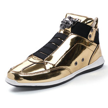 Leopard Head Design Men Leather Casual Shoes Bling Gold Silver PU Leather Male Shoes High Top Slip On Sneakers Men Shoes stylish solid colour and pu leather design men s casual shoes