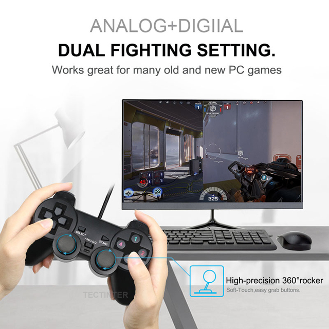 Wired USB Controller Gamepad For WinXP/Win7/Win8/Win10 For PC Computer Laptop Black Game Joystick 2