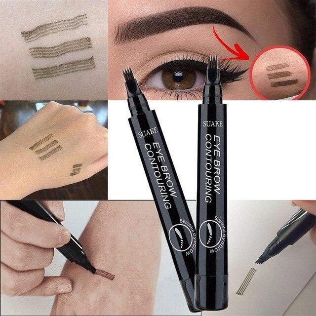 Microblading Eyebrow Tattoo Pen 4 Colors 3D 4 Fork Tips Fine Sketch Liquid Eyebrow Pencil Waterproof Eyebrow Tint Makeup TSLM1 3
