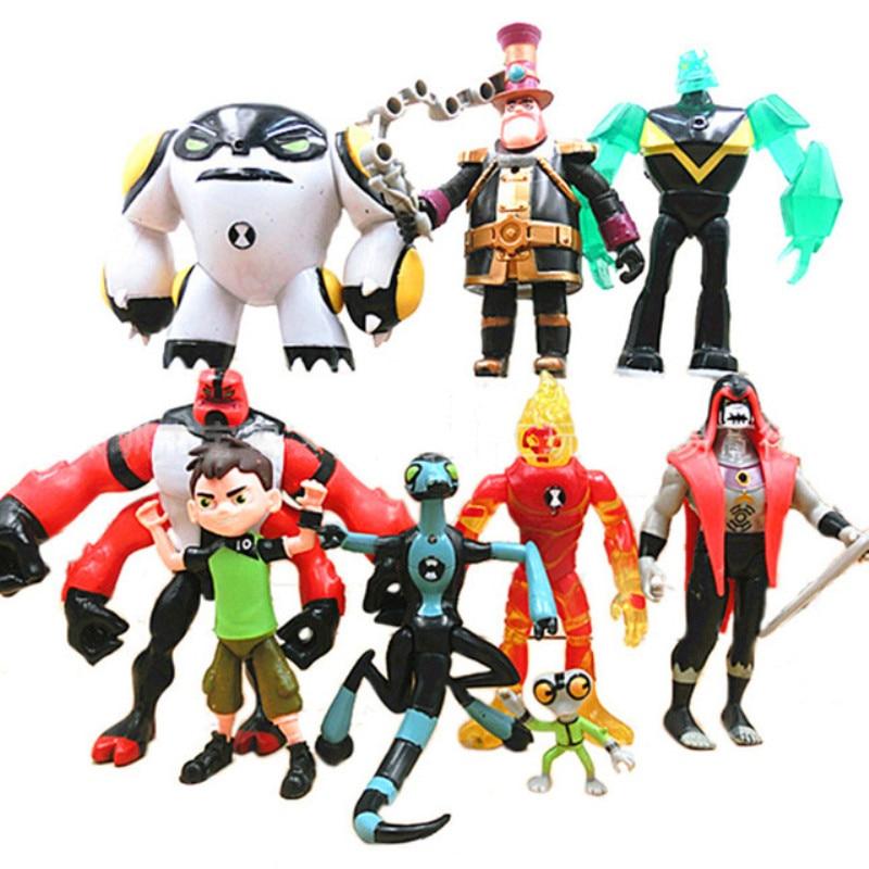 9 pçs/set Earth Defender Brinquedos 2019 Ben Tennyson Quatro braços Cinza Importa Figuras de Ação Brinquedos Para Crianças Modelo de Recolha de Brinquedos