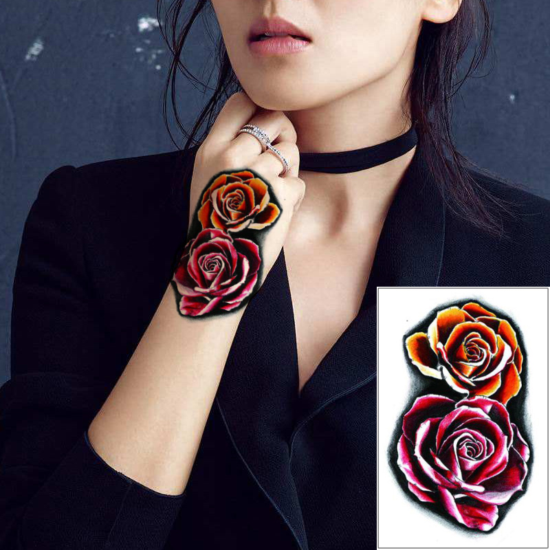Full Hand Tattoo Decal 3d Colorful Rose Flower Design Temporary Waterproof Body Art Tattoo Sticker For Woman Arm Leg Back Makeup Temporary Tattoos Aliexpress