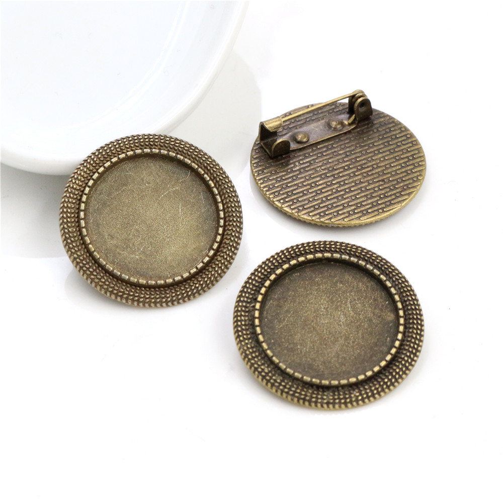 2pcs 20mm Inner Size Antique Bronze  Brooch Pin Classic Style Cabochon Base Setting  (D1-26)