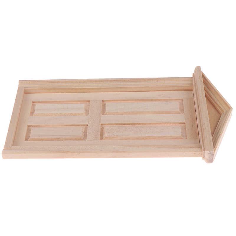 1 Uds 1:12 muñeca casa puerta muebles simulación miniaturas DIY Spire de madera puerta casa de muñecas accesorios juego de simulación para niños
