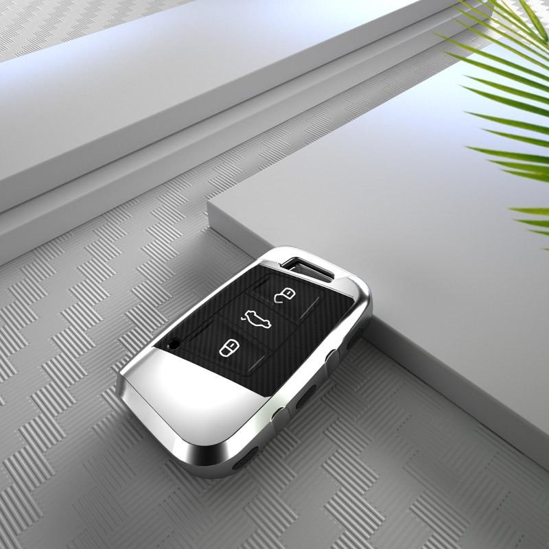 Fibra de carbono tpu chave capa escudo para volkswagen vw magotan tiguan mk2 2017 2018 2016 passat b7 b8 cc para skoda superb a7