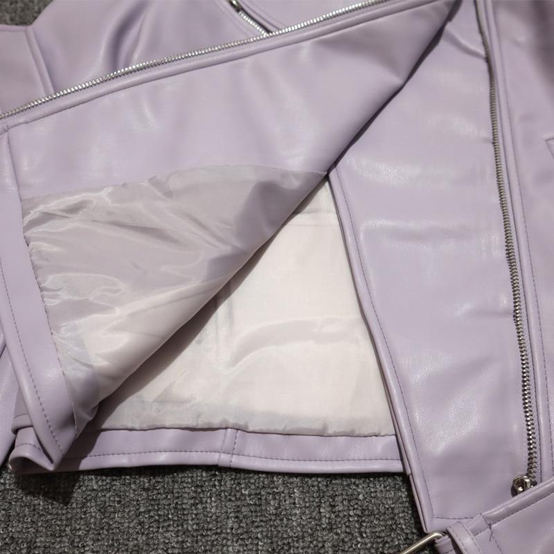 H0a4f2bcc3ef140fe8988c330259b0aafn Spring Autumn Women Faux Leather Jacket Ladies Solid With Belt Zipper Biker Coat Female Casual Outwear