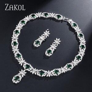 Image 1 - ZAKOL Trendy Style White Color Green Zirconia Bride Wedding Jewelry Set Flower Earrings Necklace For Europe Women FSSP2007